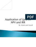 Application of Ijara on NPV and IRR
