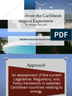 Dr Winston McCalla, Lessons From the Caribbean Region Experience, presentation, 2-2012