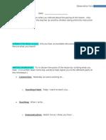 Observation Recording Sheet for Student Teachers