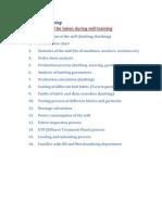Topics of Mill Training