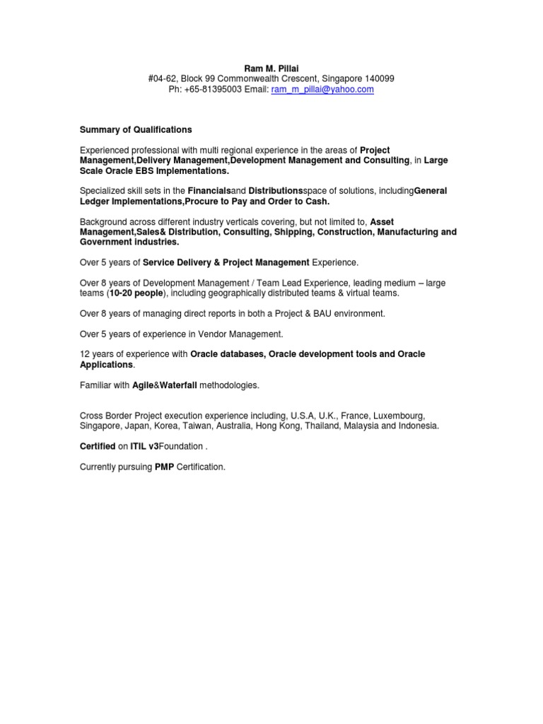 Ram Mahadev Pillai Oracle Corporation Project Management