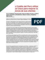 Banco de Crédito del Perú utiliza tecnología Cisco para mejorar la experiencia de sus clientes