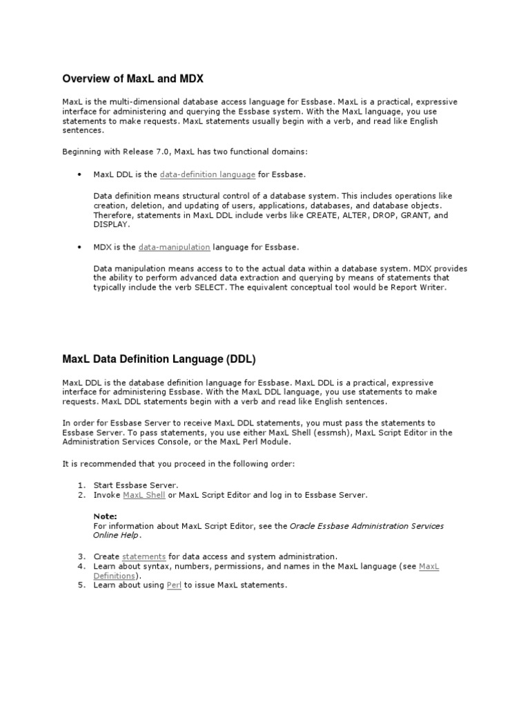 Overview Of Maxl And Mdx: Data-Definition Language
