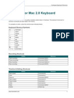 Camtasia 2.0 Keyboard Shortcuts