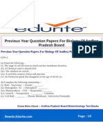 Previous Year Question Papers for Biology of Andhra Pradesh Board