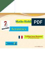 """eTwinning projet """"MATHS RIDDLES"""", Acrostics FR"""