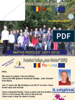 "eTwinning projet ""MATHS RIDDLES"", presentations RO"