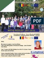"eTwinning projet ""MATHS RIDDLES"", presentations RO"