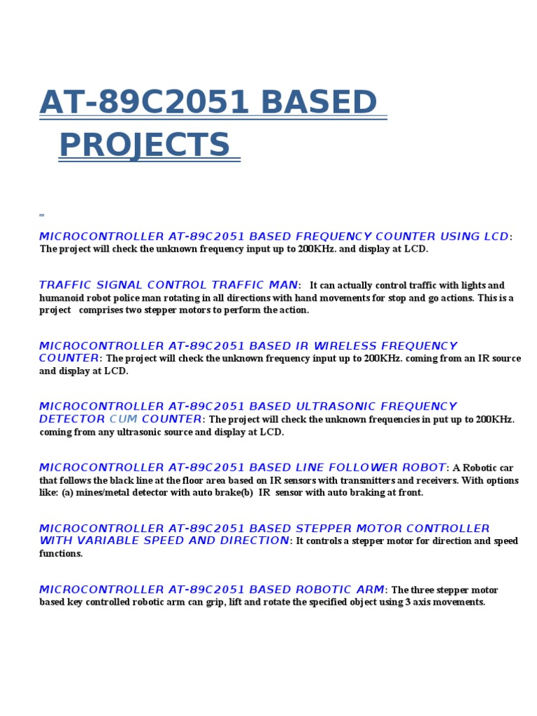 At 89c2051 Based Projects