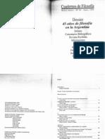 Dossier 45 años de Filosofía en Argentina, Cuadernos de Filosofia