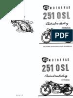 Nsu Osl 251 Betriebsansleitung