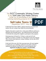 SLTW Mentor Application 2012-2013