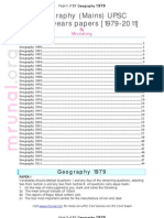Geography (Mains) Previous 33 Years Question Papers [1979-2011] by (Www.mrunal.org) for UPSC IAS IPS Exam