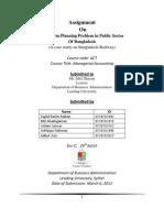 A Case Study on Bangladesh Railway