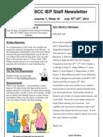BCC IEP Staff Newsletter Week 10 Sem 1