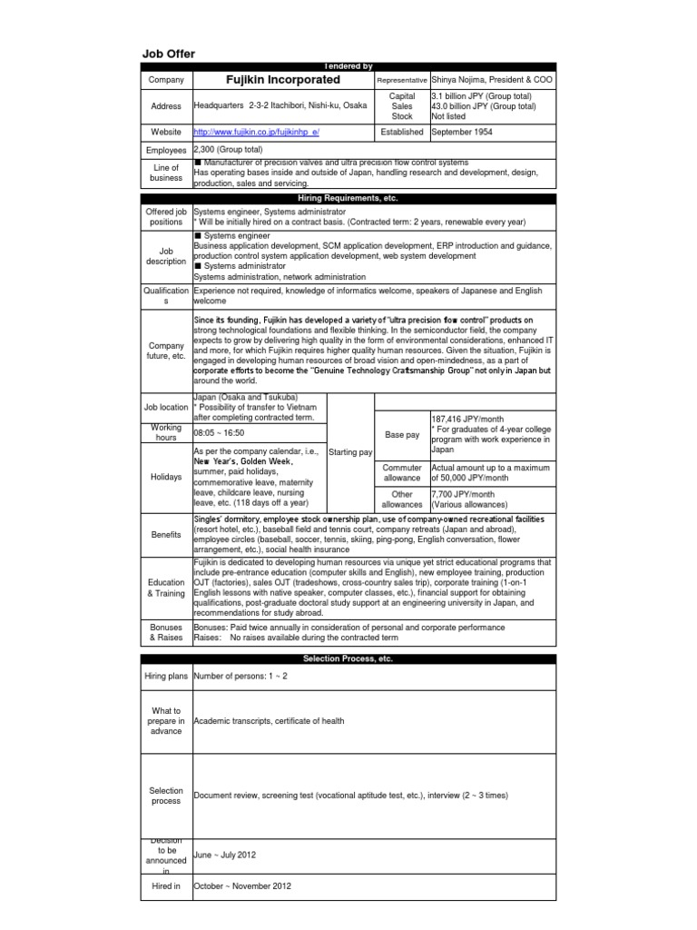 Job Offer Format FujikinInc | Employment | Japan