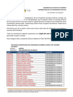 """RELACIÓN DE BENEFICIADOS DEL PROGRAMA GUERRERO CUMPLE CON """"MADRES SOLTERAS"""" MUNICIPIO DE CHILPANCINGO DE LOS BRAVO"""
