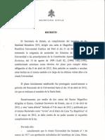 """Decreto Vaticano de Retiro de Títulos de """"Pontificia"""" y """"Católica"""" a la PUCP."""