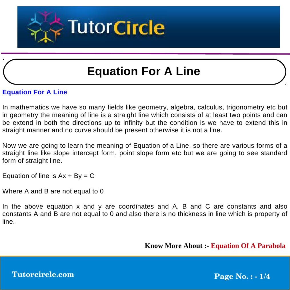 Equation For A Line Line Geometry Equations