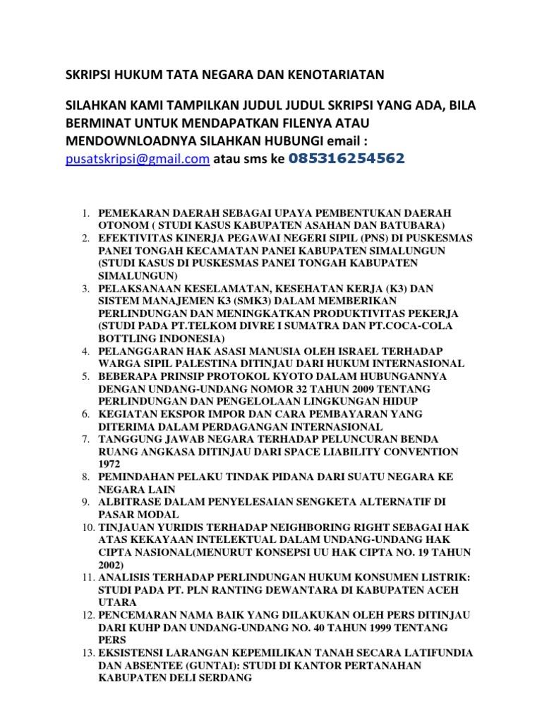 Skripsi Hukum Tata Negara Dan Kenotariatan