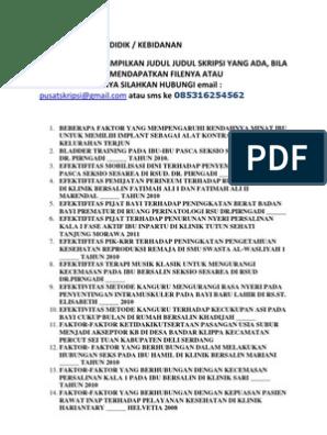 Judul Skripsi D4 Kebidanan Pendidik Terbaru Kumpulan Berbagai Skripsi