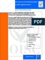 OISC Guidance Note on Business Names - July 2012