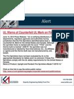 2012 UL Counterfeit Sprinkler Notice
