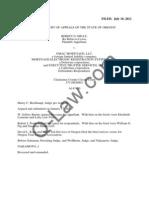 Niday v. GMAC, MERS, Et. Al (Oregon Court of Appeals July 2012)