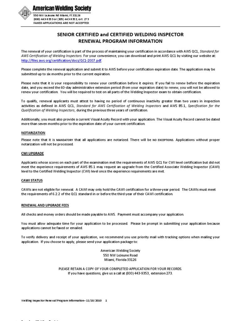 Cwi Scwi Renewal Pkg Welding Professional Certification