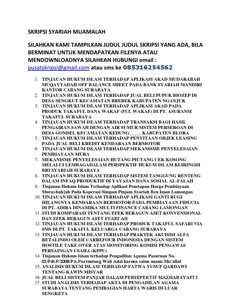 Skripsi Syariah Muamalah