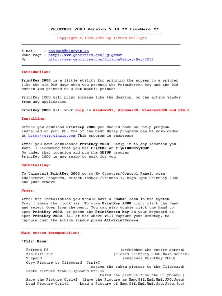printkey freeware download