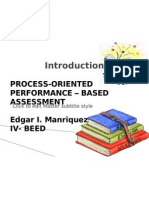 assessment of learning, process oriented, performanced -b ased assessment