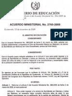 2009 2765-2009 AM Reformar el Artículo 6 del AM 396-2009 de bachillerato por madurez