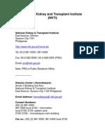 [Address] National Kidney and Transplant Institute (NKTI)