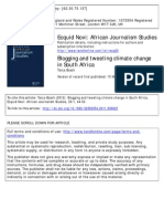 Bosch, T. (2012) Blogging and Tweeting Climate Change in South Africa
