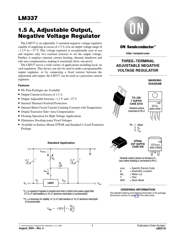 Datasheet De Lm337 Capacitor Physical Quantities Negative Output Voltage Integrated Regulator Circuit 2 Power