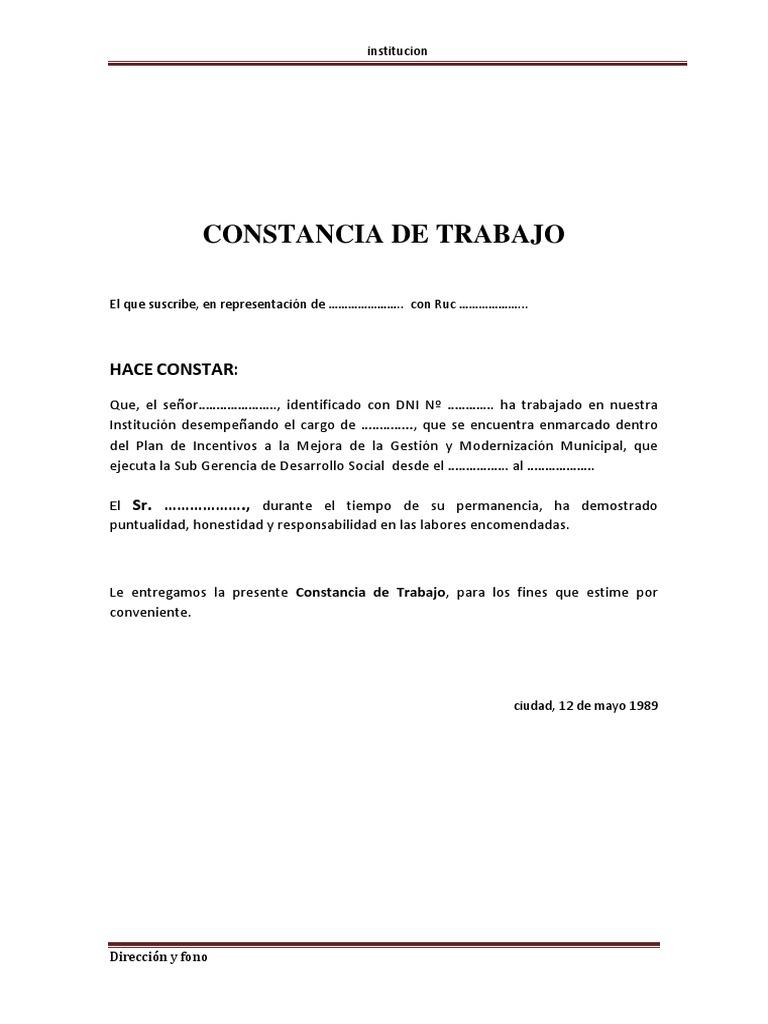 Modelo certificado de trabajo for Modelo de contrato de trabajo de empleada domestica