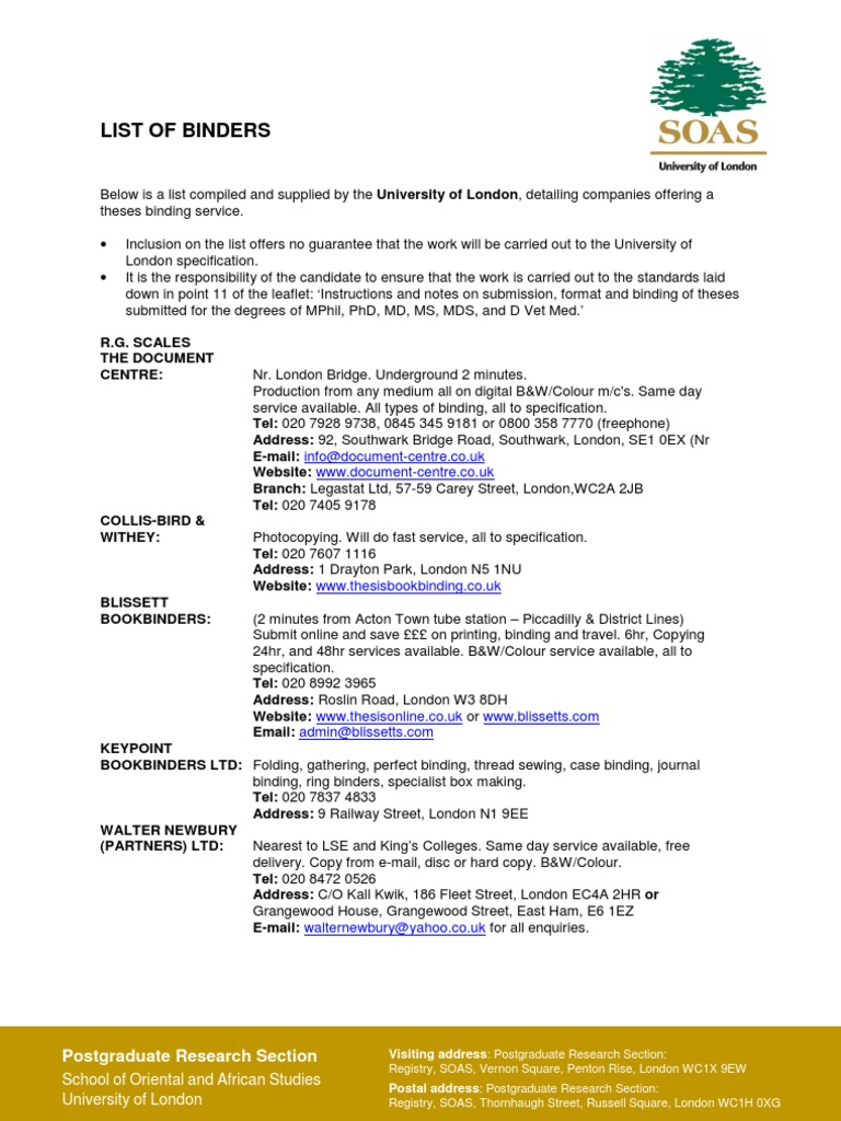 list of binders bookbinding qualifications