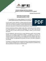 COMUNICADO IFE- REMITIRÁ IFE OAXACA MÁS DOCUMENTACIÓN AL TEPJF