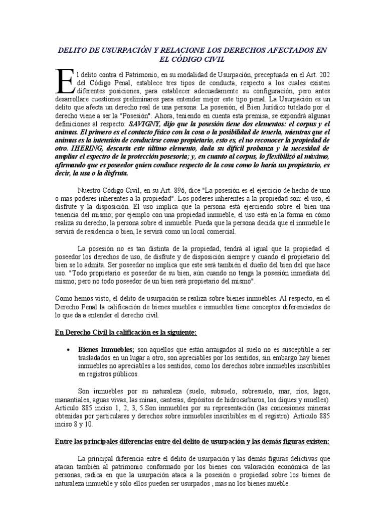 Delito De Usurpaci N Y Relacione Los Derechos Afectados En El  # Codigo Civil Muebles E Inmuebles