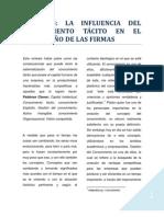 LA INFLUENCIA DEL CONOCIMIENTO TÁCITO EN EL DESEMPEÑO DE LAS FIRMAS