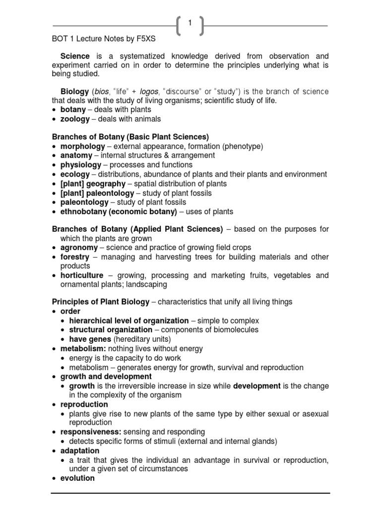 Draft] BOT 1 Notes | Cell (Biology) | Abiogenesis