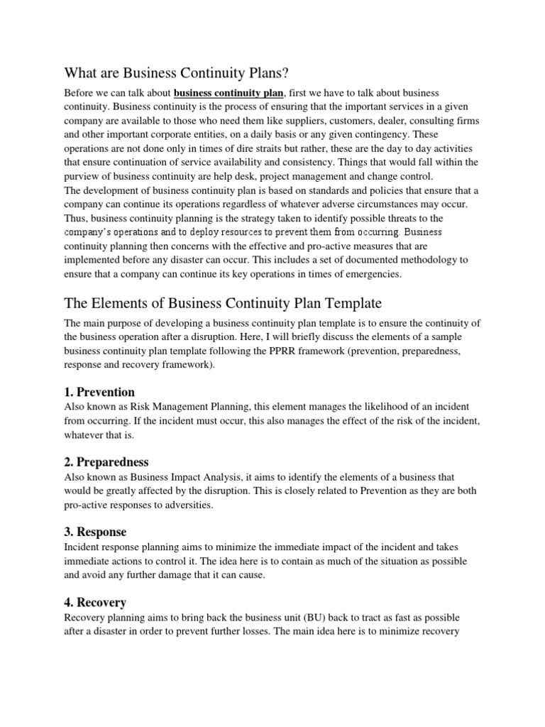 Business Continuity Plans | Business Continuity | Disaster Recovery