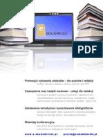 www.e-akademickie.pl   Cytowania   Impact Factor   Strony internetowe   Edycja PDF   Sprowadzanie ksiązek zagranicznych   Strona internetowa