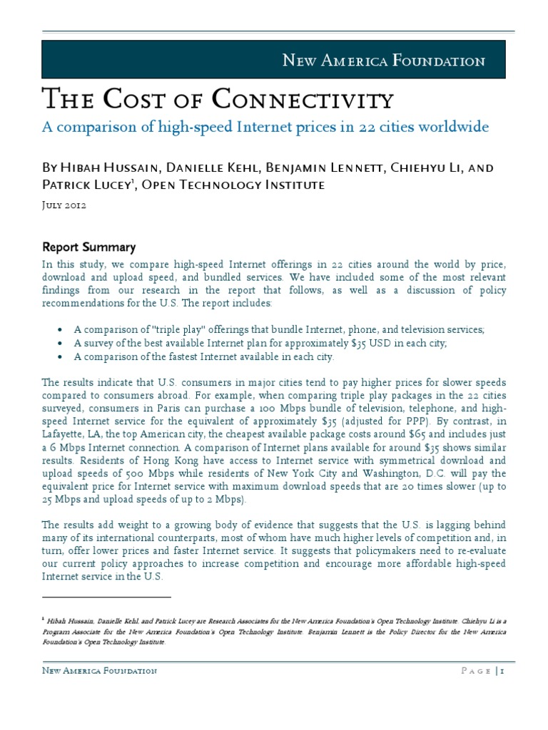 the cost of connectivity internet access internet service provider