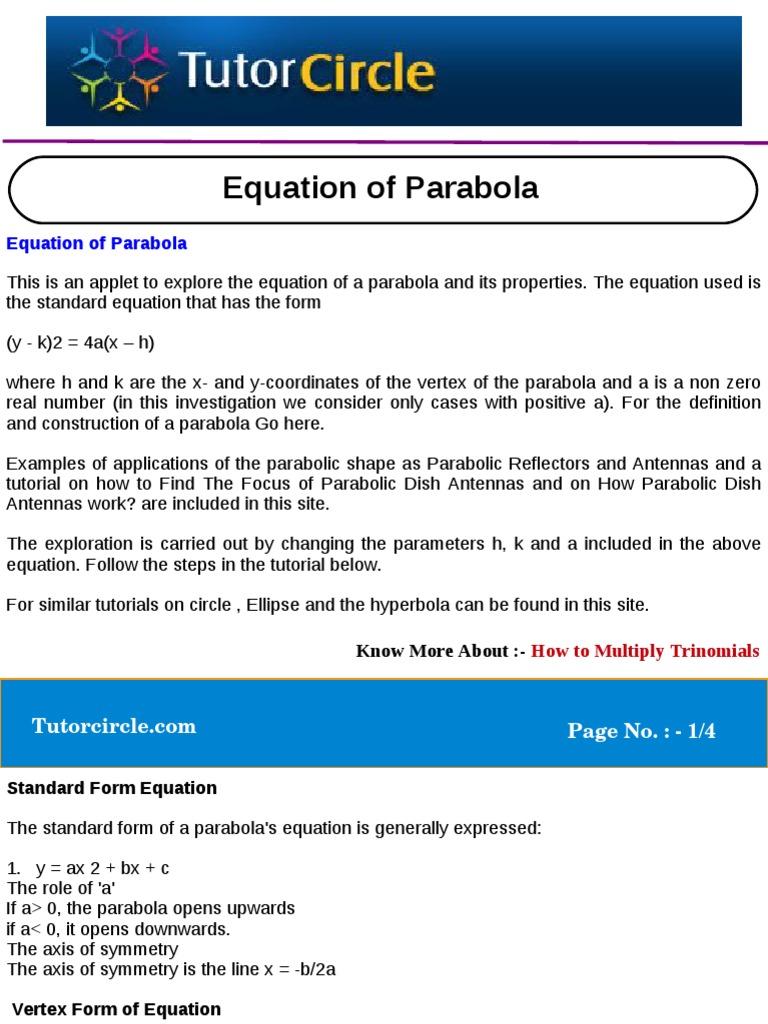 Equation of parabola geometry physics mathematics falaconquin