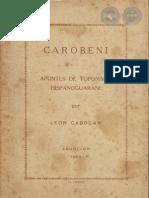 CAROBENI - Apuntes de Toponimi Hispanoguarani - León Cadogán - 1959 - Paraguay - PortalGuarani