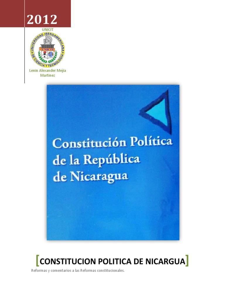 Derecho Constitucional Constitución Política De Nicaragua