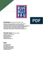 Blue Belly Opening Menu