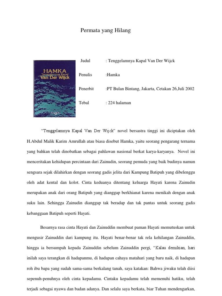 Resensi Tenggelamnya Kapal Van Houten Novel Der Wijck By Hamka